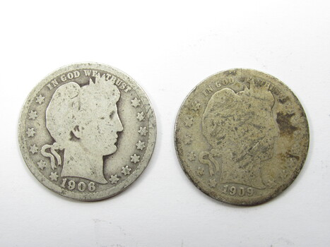 PAIR of 90% Silver 1906-P & 1909-S Barber Quarter (285)
