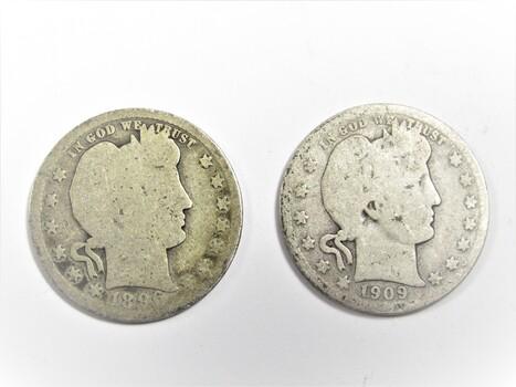 PAIR of 90% Silver 1909-D 1896-P Barber Quarter (317)