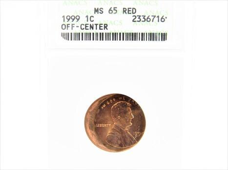 Rare 1999 Off-Center Lincoln Cent Error Coin MS65RD ANACS (84