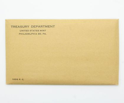 Rare Unopened (Envelope Still Sealed) 1955 Silver Proof Set - Very Low Mintage --- Key Date of Unopened Flatpack Series