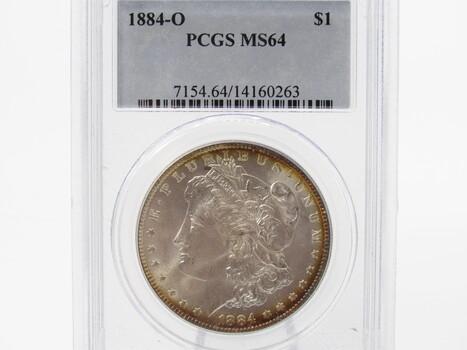 SILVER 1884-O Morgan Dollar PCGS MS64 (332)