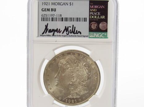 SILVER 1921 Morgan Dollar Signed by Wayne Miller PCGS BU (364)