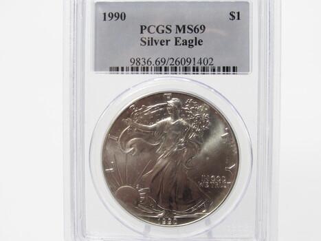SILVER 1990 American Eagle PCGS MS69 (304)