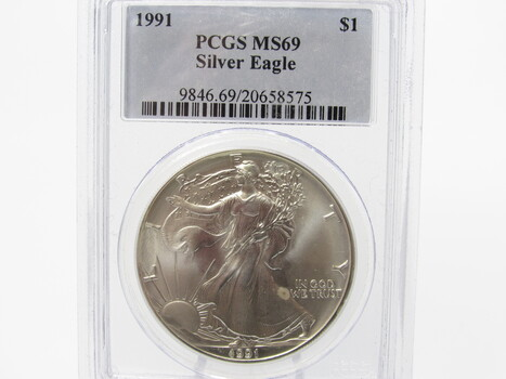 SILVER 1991 American Eagle PCGS MS69 (305)