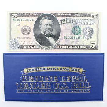 Ulysses S. Grant Commemorative $5 Bank Note 1886 Morgan $1 Back