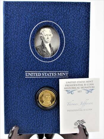 US Mint Thomas Jefferson $1 Dollar Coin Historical Signature Set with Box & COA (001)