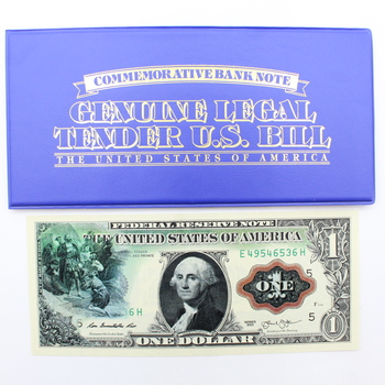 Washington Rainbow Commemorative $1 Bank Note with Enhanced Images