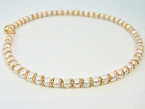 White Pearl Necklace Bronze Clasp Made in Italy
