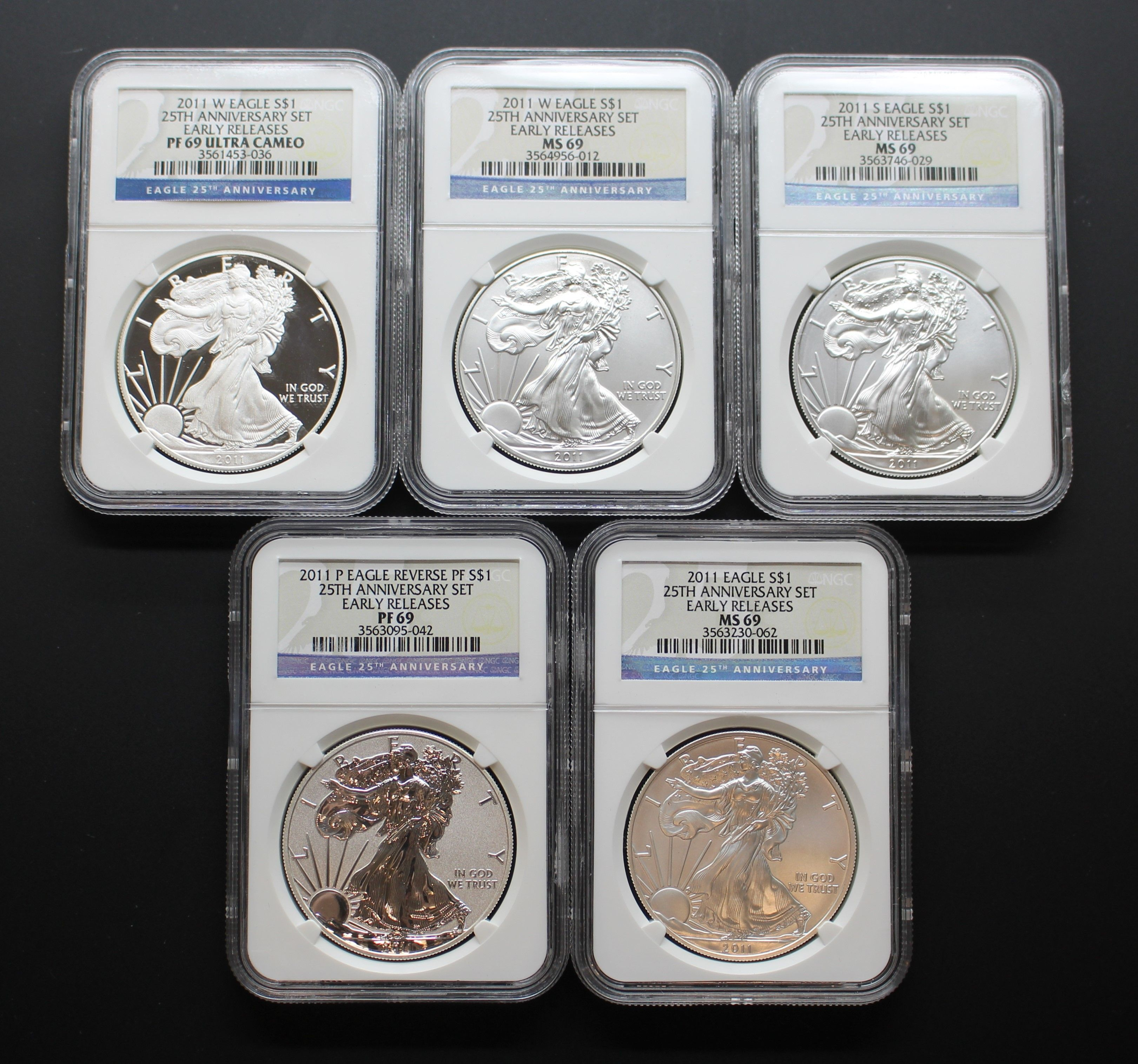 "Early Releases 2011 American Silver Eagle /""25th Anniversary/"" NGC MS69"