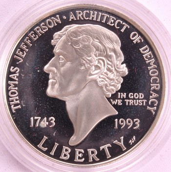 1993 US Mint Thomas Jefferson 250th Anniversary PROOF Silver Dollar $1