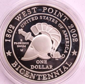 2002 US Mint West Point Bicentennial Silver Dollar $1