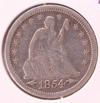 1854 O US Silver Liberty Seated Quarter Dollar Arrows At Date VF