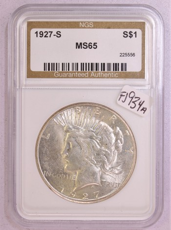 1927 S US Silver Peace Dollar $1 MS65 NGS