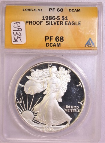1986 S US PROOF Silver American Eagle $1 PF68 DCAM ANACS