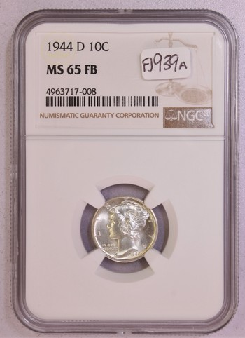 1944 D US Silver Mercury Dime 10c MS65FB NGC