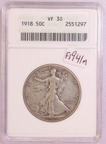1918 US Silver Walking Liberty Half Dollar 50c VF30 ANACS