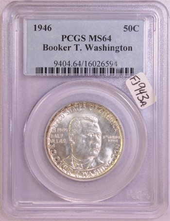 1946 US Silver Booker T. Washington Commemorative Half Dollar 50c MS64 PCGS