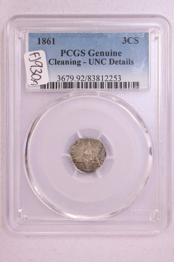 1861 US Three Cent Silver 3c Cleaned UNC Details PCGS Genuine