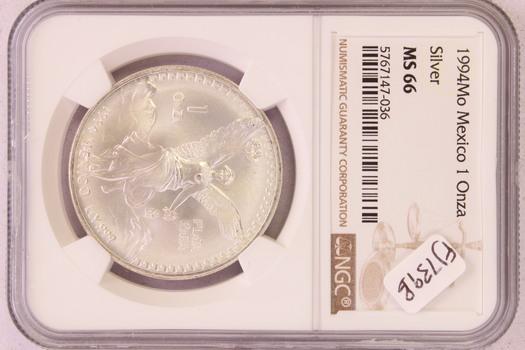 1994Mo Mexico 1 Onza .999 Silver MS66 NGC