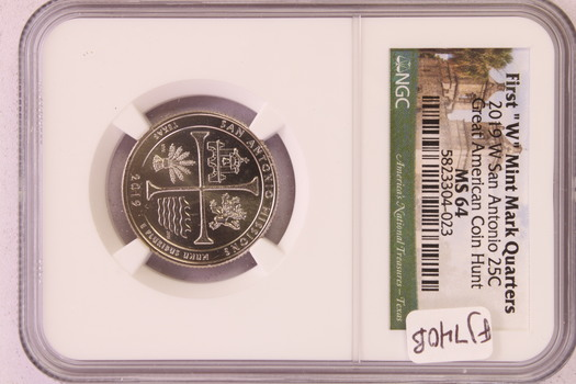 "2019 W US San Antonio Washington Quarter 25c First ""W"" Mint Mark Quarters MS64NGC"