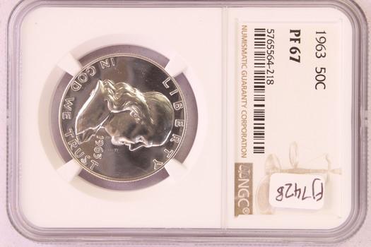 1963 US Silver PROOF Franklin Half Dollar 50c PF67 NGC