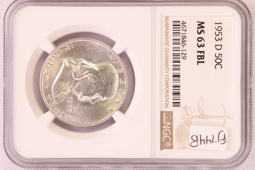 1953 D US Silver Franklin Half Dollar MS63FBL NGC