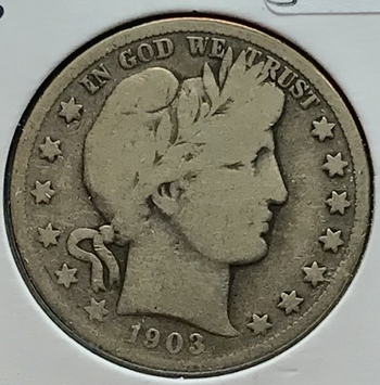 1903 S US Silver Barber Half Dollar 50c