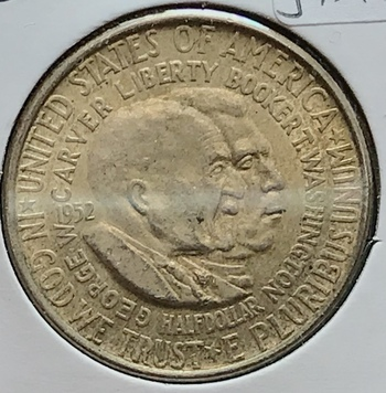 1952 P US Silver Carver/Washington Commemorative Half Dollar 50c
