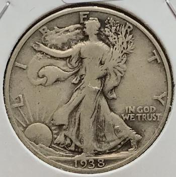 1938 D US Silver Walking Liberty Half Dollar 50c