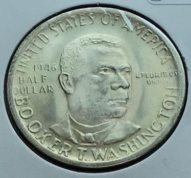 1946 US Silver Booker T. Washington Commemorative Half Dollar 50c