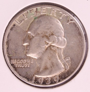 1939 D US Silver Washington Quarter CH XF