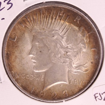 1923 P US Silver Peace Dollar BU Great Toning
