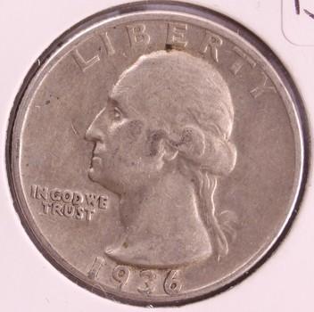 1936 D US Silver Washington Quarter XF