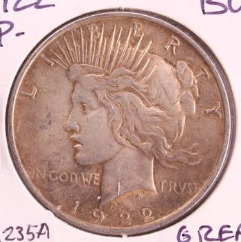 1922 P US Silver Peace Dollar $1 BU Great Toning