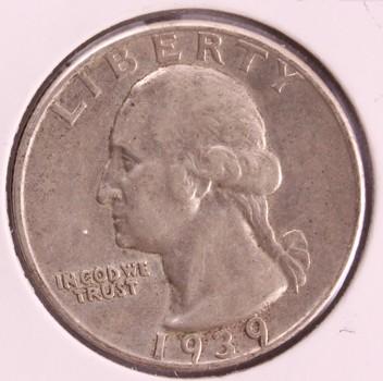 1939 D US Silver Washington Quarter 25c