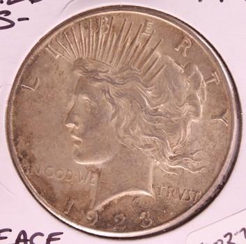 1926 S US Silver Peace Dollar $1 AU+