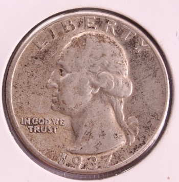 1937 D US Silver Washington Quarter 25c Nice AU