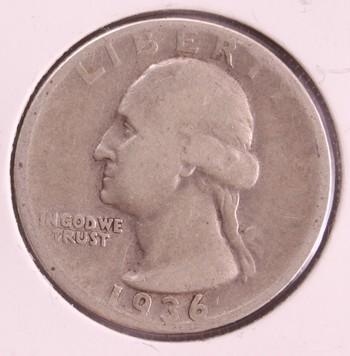 1936 D US Silver Washington Quarter 25c