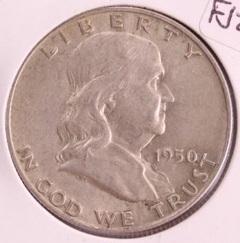 1950 D US Silver Franklin Half Dollar 50c AU