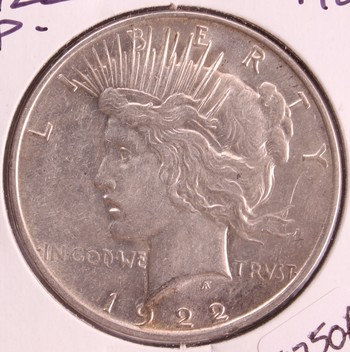 1922 P US Silver Peace Dollar $1 AU