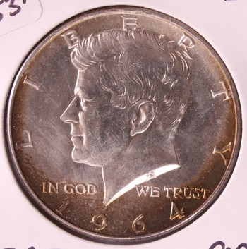 1964 US Silver Kennedy Half Dollar 50c GEM BU Great Toning!