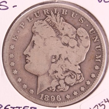 1896 S US Silver Morgan Dollar $1 VG Better Date