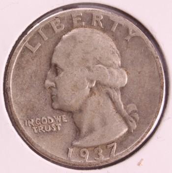 1937 P US Silver Washington Quarter 25c