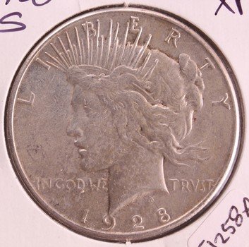 1928 S US Silver Peace Dollar $1 XF