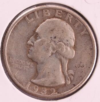 1932 P US Silver Washington Quarter 25c Original Coin