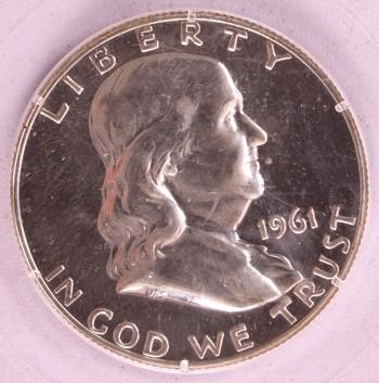 1961 US Silver Franklin Half Dollar 50c PR64