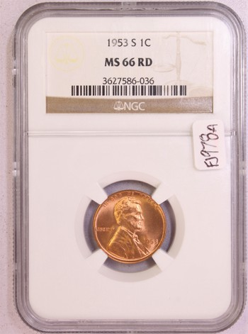 1953 US Lincoln Wheat Cent 1c MS66RD NGC