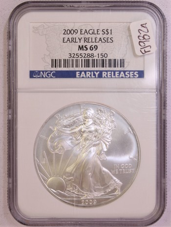 2009 US Silver American Eagle 1oz .999 Silver MS69 NGC Early Releases