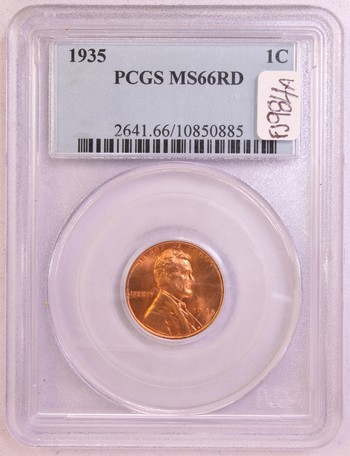 1935 US Lincoln Wheat Cent 1c MS66RD PCGS