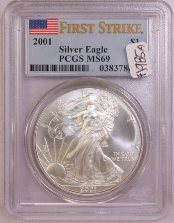 2001 US Silver American Eagle 1oz Fine Silver MS69 PCGS First Strike